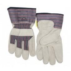 Mănuşi de lucru de uz general cu partea dorsală textilă întărită, din piele şpalt de vită, cu palma căptuşită şi manşetă de protecţie de 7,5 cm