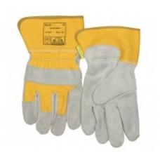 Mănuşi de lucru şi protecţie colorată, cu partea dorsală textilă întărită, din piele şpalt de vită, cu palma căptuşită şi manşetă de protecţie de 7,5 cm