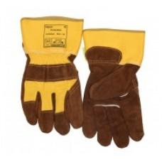 MănuşI de lucru şi protecţie colorată, cu partea dorsală textilă întărită, din piele şpalt de vită Lava Brown™, cu palma căptuşită şi manşetă de protecţie de 7,5 cm