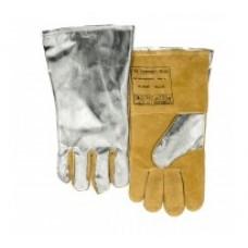 Mănuşi de sudură căptuşită cu COMFOflex®, cu partea dorsală din PFR aluminizat pentru a reflecta căldura radiantă, cu piele şpalt de căprioară şi de vită